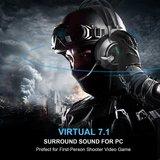 Tecknet Gaming Headset | 7.1 USB Surround Sound Headphone met 2.2 Meter kabel | Blue LED Light en Noise Cancelling Microfoon _