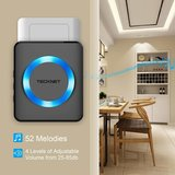 TeckNet Draadloze Deurbel met 2 Ontvangers - Plug&Play - Regelbaar Volume / Melodie / Oplichtende LED's / zwart_