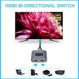 Tecknet tweerichtings HDMI Switch 1-in-2-Out / 2-in-1-Out | Ondersteunt 4K 3D 1080P HD | Plug & Play _