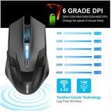 Tecknet Ergonomische LED Illuminated Gaming Muis 2.4 GHz - Draadloos - Zwart - 8 Knoppen - Optische Muis, Instelbaar DPI (Tot 4800) - PC + MAC_