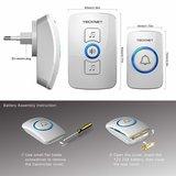 TeckNet Draadloze Deurbel met 2 Ontvangers - Plug&Play - Regelbaar Volume / Melodie / Oplichtende LED's | Wit_