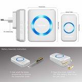 TeckNet Draadloze Deurbel met 2 Ontvangers - Plug&Play - Regelbaar Volume / Melodie / Oplichtende LED's / Wit_