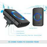 TeckNet Draadloze Deurbel met 1 Ontvanger - Plug&Play - Regelbaar Volume / Melodie / Oplichtende LED - Zwarts_