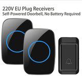 Beepower Draadloze Deurbel met 2 Ontvangers - Plug&Play - Regelbaar Volume / Melodie - Oplichtende LED's - De belset werkt geheel zonder batterijen_