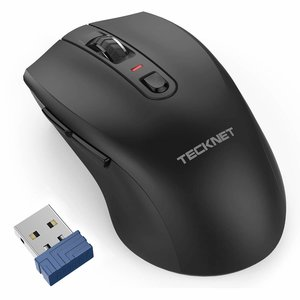 Tecknet Ergonomische 2.4G Draadloze Optische Mobiele Muis | 4800 DPI met USB Nano Ontvanger voor Laptop, PC, Chromebook, MacBook, Computer | 6 Knoppen | 30 Maanden Batterijduur | 5 DPI niveaus | Zwart
