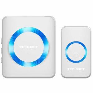 TeckNet Draadloze Deurbel met 1 Ontvanger - Plug&Play - Regelbaar Volume / Melodie / Oplichtende LED - Zwarts